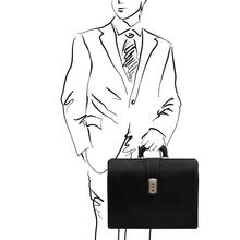 Servieta doctor din piele naturala neagra, Tuscany Leather, Canova