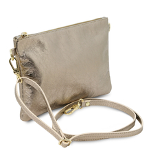 Plic dama din piele naturala aurie, Tuscany Leather, TL Bag Metallic