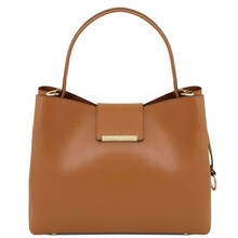 Clio Saffiano leather secchiello bag Cognac