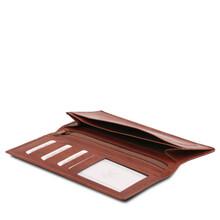Portofel vertical Tuscany Leather cu doua pliuri maro inchis