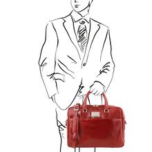 Geanta laptop Tuscany Leather, Urbino, din piele naturala rosie