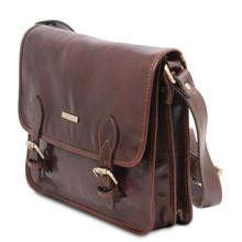 Geanta barbati din piele naturala Tuscany Leather, maro, Postman