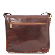 Geanta barbati din piele naturala Tuscany Leather, maro inchis, Postman