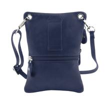 Geanta piele naturala Tuscany Leather, albastru inchis, Minicross