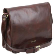 Geanta barbati din piele naturala Tuscany Leather, maro, marime mare