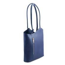 Geanta convertibila in rucsac Tuscany Leather din piele albastru inchis Patty