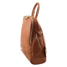 Rucsac dama din piele naturala Tuscany Leather, coniac, TL Bag