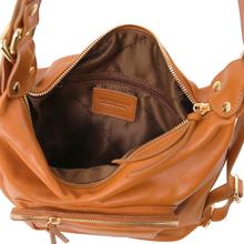 Rucsac dama si geanta de umar 2in1 Tuscany Leather din piele coniac