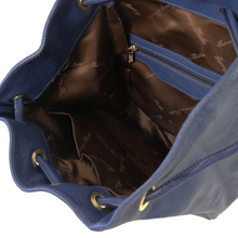 Rucsac dama din piele naturala Tuscany Leather, albastru inchis