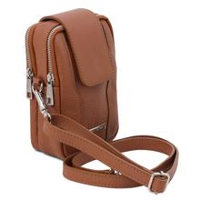 Geanta telefon Tuscany Leather din piele naturala coniac