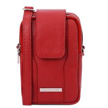Geanta telefon Tuscany Leather din piele naturala rosie
