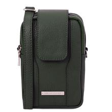 Geanta telefon Tuscany Leather din piele naturala verde