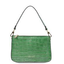 Cassandra Croc print leather clutch handbag Green