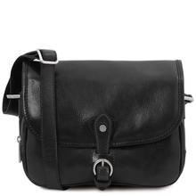 Geanta dama din piele naturala neagra, Tuscany Leather, Alessia