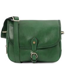 Geanta dama din piele naturala verde, Tuscany Leather, Alessia