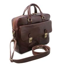 Geanta laptop din piele naturala maro inchis, Tuscany Leather, San Miniato