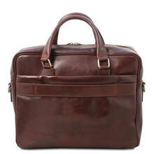 Geanta laptop din piele naturala maro, Tuscany Leather, San Miniato