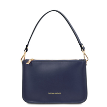 Plic dama albastru din piele naturala, Tuscany Leather, Cassandra