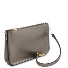 Plic dama gri metalic din piele naturala, Tuscany Leather, Cassandra