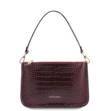 Cassandra Croc print leather clutch handbag Bordeaux