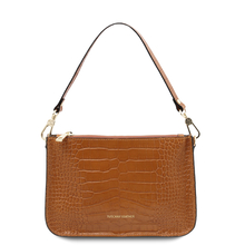 Cassandra Croc print leather clutch handbag Cinnamon