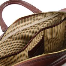Geanta laptop barbati din piele naturala Tuscany Leather, Urbino, maro inchisS