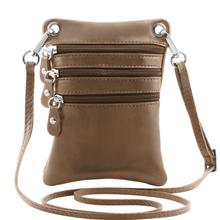 Geanta piele naturala Tuscany Leather, dark taupe, MinicrossS