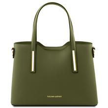 Geanta dama din piele naturala Tuscany Leather, verde masliniu, Olimpia marime mica
