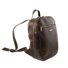 Rucsac laptop din piele naturala Tuscany Leather, maro inchis, Osaka