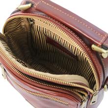Geanta crossbody barbati din piele naturala maro, Tuscany Leather, Paul