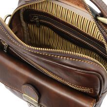 Geanta barbati, piele naturala maro inchis, Tuscany Leather, Brian