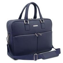 Geanta laptop din piele naturala albastru inchis, Tuscany Leather, Treviso