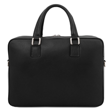 Geanta laptop din piele naturala neagra, Tuscany Leather, Treviso