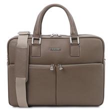 Geanta laptop din piele naturala grej, Tuscany Leather, Treviso