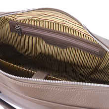 Geanta laptop din piele naturala grej, Tuscany Leather, TrevisoS