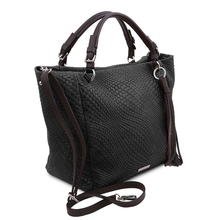 Geanta dama din piele naturala neagra, TL Bag Woven