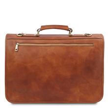 Geanta messenger barbati din piele naturala Tuscany Leather, maro deschis, Ancona