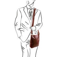 Geanta barbati din piele naturala Tuscany Leather, neagra, JasonS