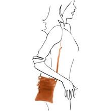 Geanta piele naturala Tuscany Leather, grej inchis, MinicrossS