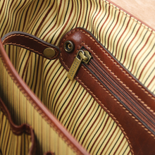 Servieta din piele naturala Tuscany Leather, maro, MantovaS