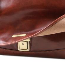 Servieta din piele naturala Tuscany Leather, maro, MantovaS
