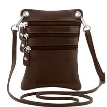 Geanta piele naturala Tuscany Leather, maro inchis, Minicross