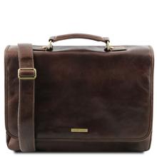 Servieta din piele naturala Tuscany Leather, maro inchis, Mantova