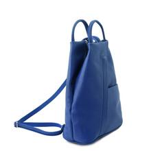 Rucsacel dama din piele naturala Tuscany Leather, albastru, Shanghai