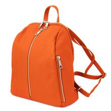Rucsac dama din piele naturala portocalie, Tuscany Leather, TL Bag