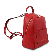 Rucsacel dama din piele naturala ros aprins, Tuscany Leather, TL Bag