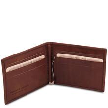 Portcard din piele naturala maro Tuscany Leather