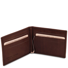 Portcard din piele naturala maro inchis Tuscany Leather