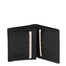 Portofel barbati din piele naturala cu 3 pliuri, Tuscany Leather, negru