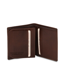 Portofel barbati din piele naturala cu 3 pliuri, Tuscany Leather, maro inchis